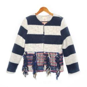 NWT Vilagallo Stripe Fringe Blanket Navy Jacket